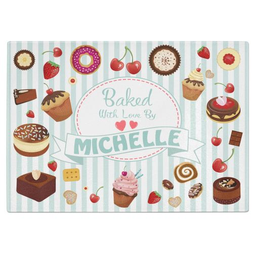 Personalised Baked With Love By Any Name Tempered Glass Chopping Board